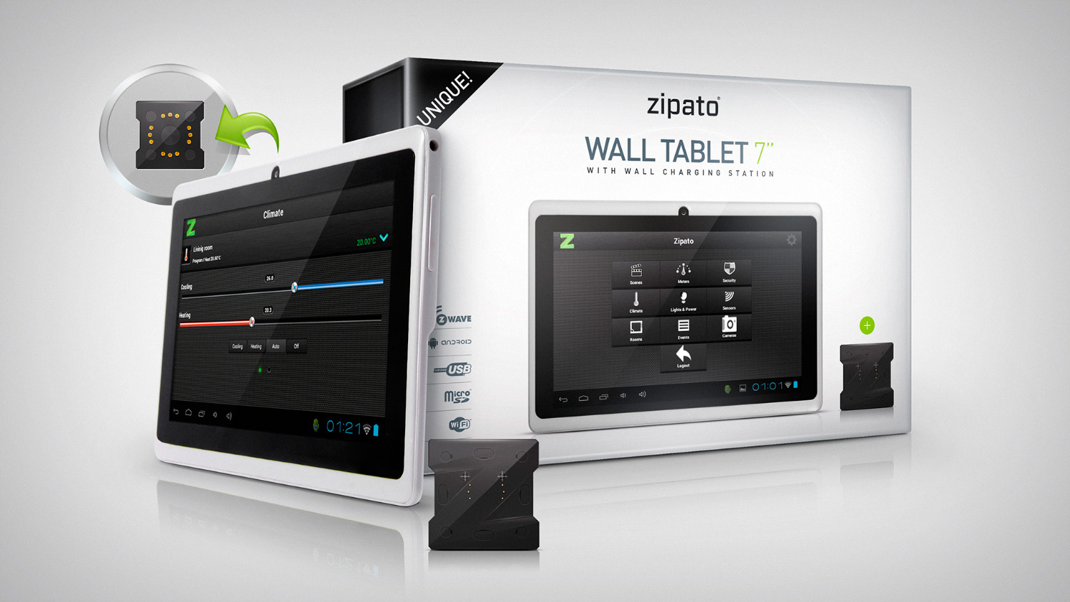 design zipato wall tablet with wall station. Black Bedroom Furniture Sets. Home Design Ideas
